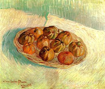 Hand painting art Still Life with Basket of Apples to Lucien Pissarro of Vincent Van Gogh reproduction oil Canvas High quality