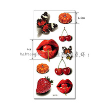 1piece 3d-33 3D Colorful Cherry Lips Pattern Temporary Tattoo Waterproof Back/arm Paint Tatoo Sticker Women Sexy Girl Party
