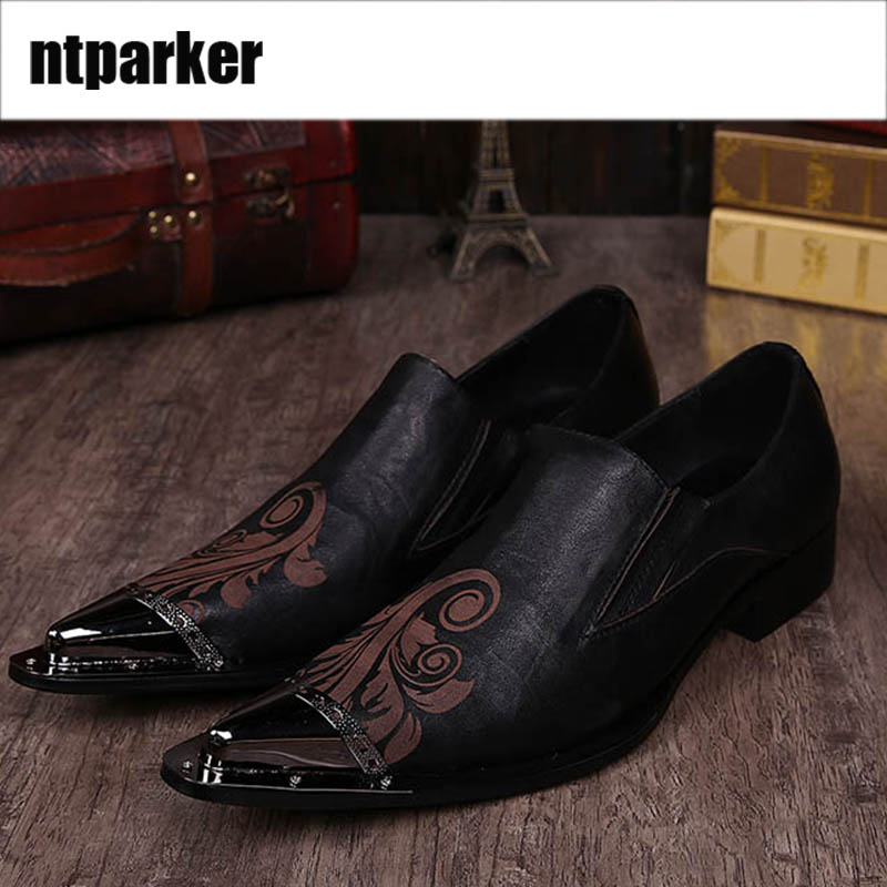 ntparker Man Dress Shoes personality fashion man pointed high-heeled shoes stylist hairdresser man