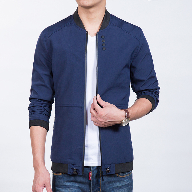 Men Jackets and Coats Baseball Collar Buttons Fitted Bomber Jacket ...