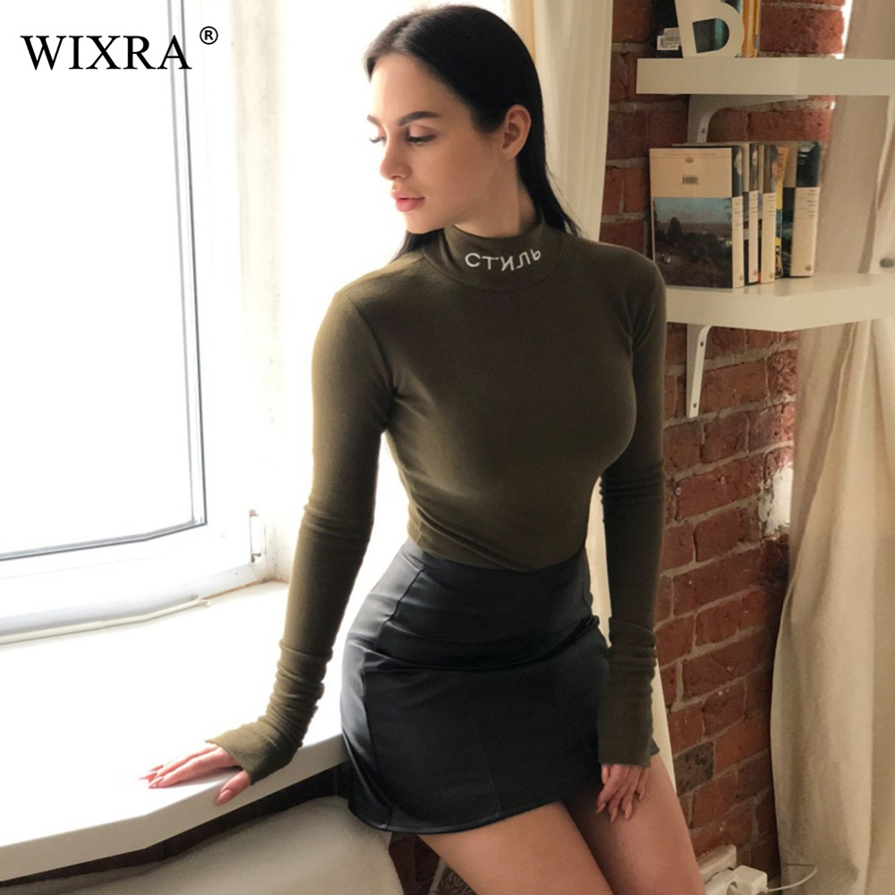 Wixra Basic Turtleneck Bodysuits 2017 Spring Autumn Women Long Sleeve High Neck Skinny Russian Letter Embroidery Bodysuit In Bodysuits From Womens