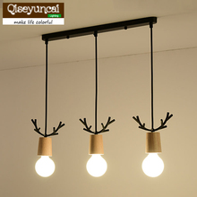 Nordic living room bedroom solid wood chandeliers modern minimalist mini bar aisle wrought iron antlers single head lamps