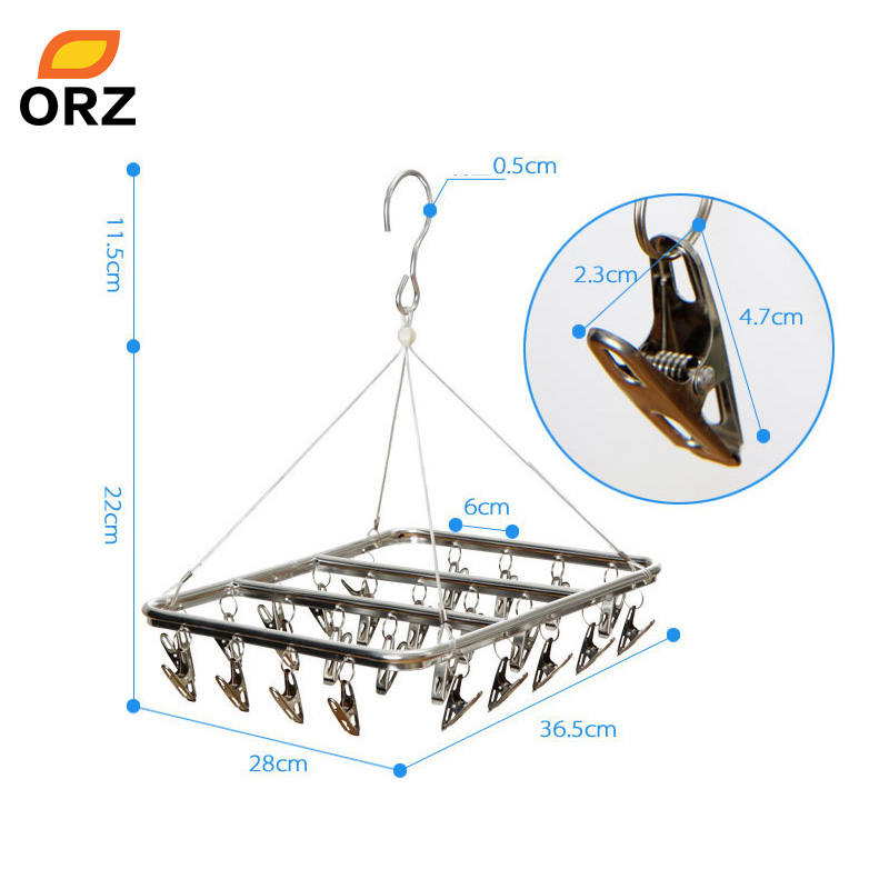 ORZ 26 Clips Stainless Steel Aluminum Clothes Drying Rack Hanger Sock Short Underwear Drying Hanger Multifunctional drying shelf ...