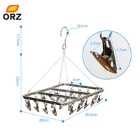 26 Clips Stainless Steel Aluminum Clothes Drying Rack Hanger Socks Shorts Underwear Drying Hanger Multifunctional Drying