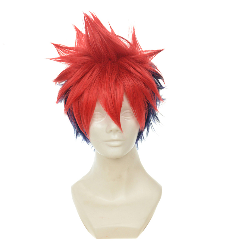 Shokugeki No Soma Yukihira Souma Cosplay Wig for Men Boys 30cm Short Straight Heat Resistant Synthetic Hair Blue Red MixedAnime Costumes   -