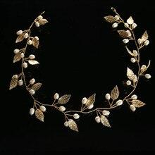 Luxury Brand Hair Jewelry For Bride Crystal Pearl Delicate Metal Leaf Wedding Tiaras Korean Headdress Headband Hair Accessories