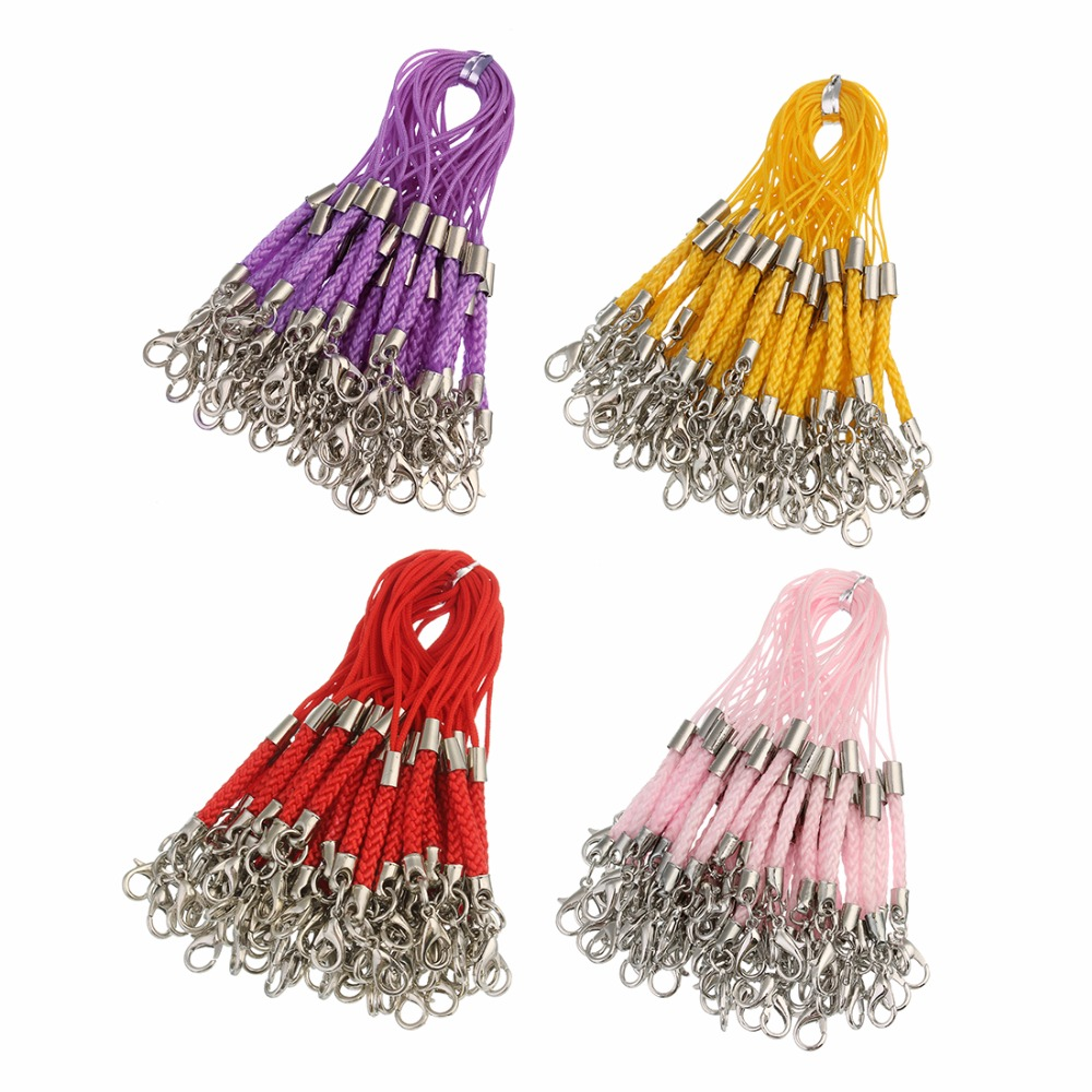 50pcs/lot 12 Colors Braided Lanyard Cell Phone Straps Mobile Phone Chains Bag Charms Pendant With Lobster Clasps DIY Making