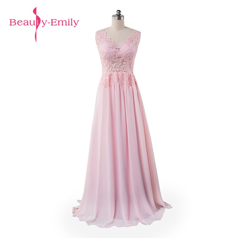 Beauty Emily Cheap Evening Dresses 2019 Long New V-Neck Floor Length Chiffon With Top Lace Summer Style Special Occasion Dresses