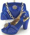 2016 новый дизайн Итальянской Обуви С Соответствующими Мешки Африканские Женская Обувь и Сумки, Установленные в синий Хорошие Продажи!! MJY1-32