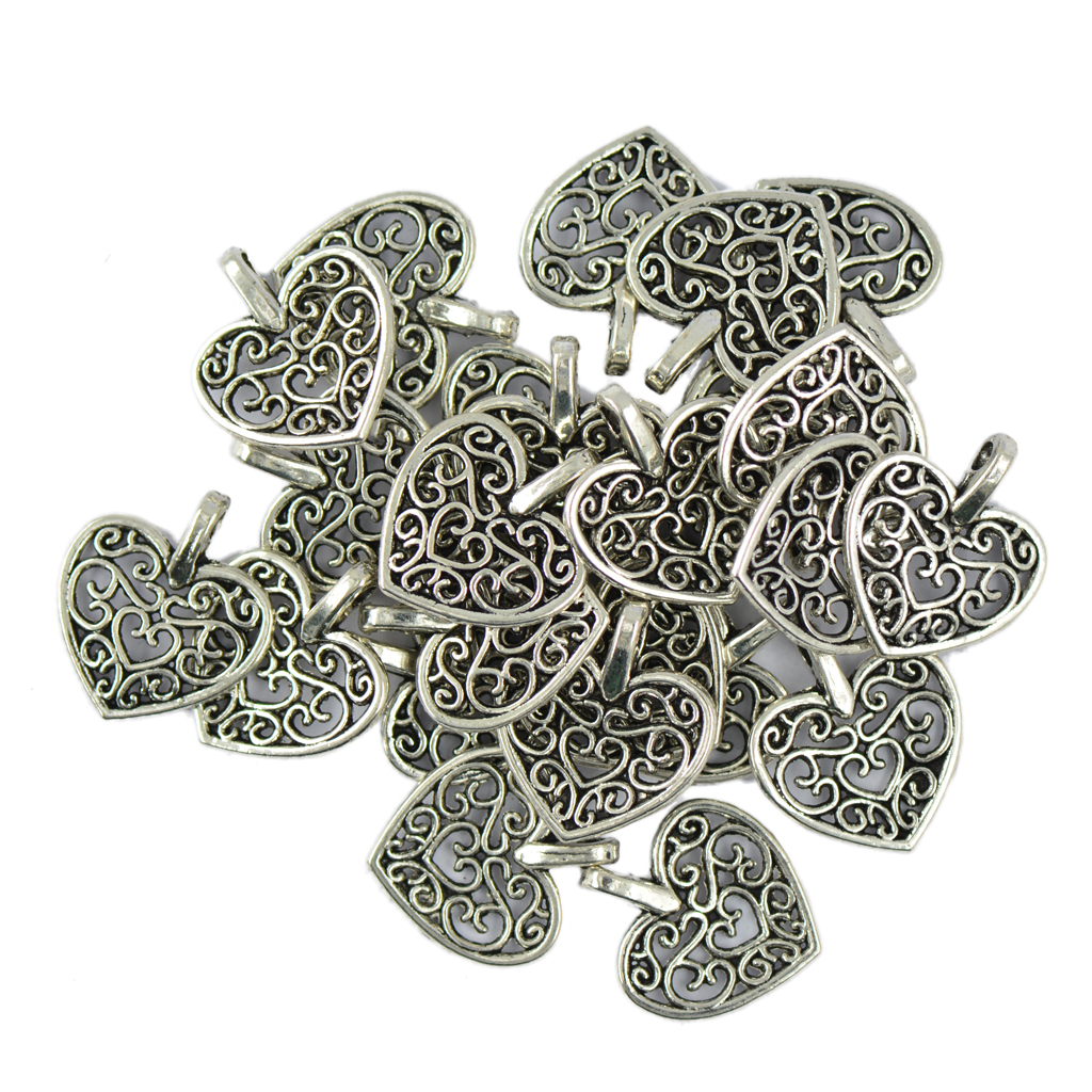 50 Pieces/ Pack Tibetan Silver Filigree Heart Charms Pendants DIY Jewelry Making for Nec ...