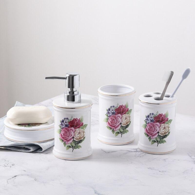 4 ensembles de set de lavage en céramique salle de bains accessoires fournitures ensemble lotion bouteille sous-bouteille porte-brosse à dents porte-savon mx5301553