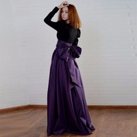 Dark Purple Satin Long Skirt With Big Bow A Line Lady Floor Length Skirt Ruched Custom Made Women Skirt For Evening Party