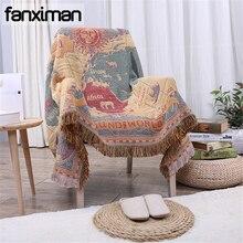 American Country Vintage algodón Chenille Throw Blanket funda de sofá a cuadros toalla hogar decorativo sábana suelo Mat con borla