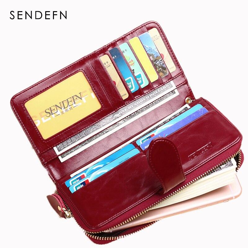 SENDEFN forró eladó márka bőr női pénztárca női pénztárca hosszú hölgy kuplung pénz táska cipzár érme erszényes Carteira Feminina 8002-6