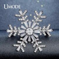 UMODE Snowflake Brooch For Women Bridal Wedding Collar Large Crystal Rhinestone Flower Brooch Fashion Jewelry Metal