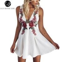 Elegant White Deep V Neck Rose Floral Embroidery A Line Dresses Women Autumn Winter Party Beach