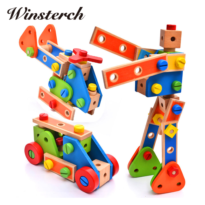 Baby Gifts DIY Wooden Assemblage Cartoon Robots Truck Kids Children Educational Diecasts Toys Nut Vehicle Creature Blocks ZS074 magnetic wooden puzzle toys for children educational wooden toys cartoon animals puzzles table kids games juguetes educativos