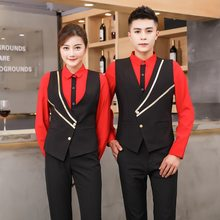 Women KTV Bar Waitress Work Wear Men Hotel Shirt Sleeve Waiter Uniform Western Restaurant Coffee Shop Waiter Vest Overalls 90(China)