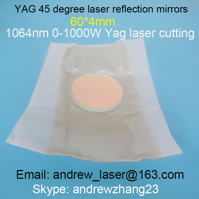YAG Laser Cutting Machine 45 Degree Reflection Mirrors   1064nm 60*4mm for 0-1000W yag laser cutting machines laser components