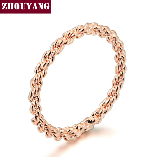 Top Quality ZYR127 Gold Concise Ring Rose Gold Color Austrian Crystals Full Size
