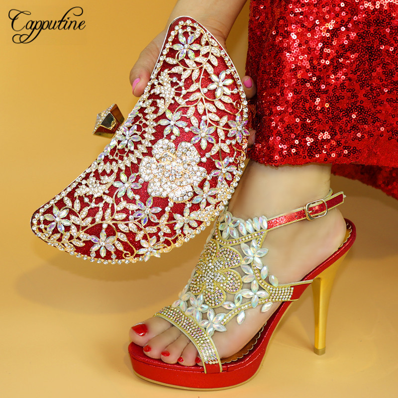 Capputine Hot Selling Red Color Wedding Shoes And Bag Set Newest Design Italian Pumps Shoes And Bag Set Free Shipping TX-864 cd158 1 free shipping hot sale fashion design shoes and matching bag with glitter item in black