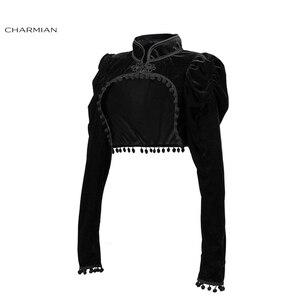 Image 3 - Charmian Womens Medieval Gothic Black Velvet Stand Collar Long Sleeve Midriff Shrug Bolero with Pom poms