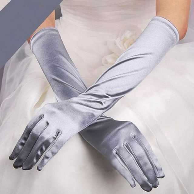 Satin Long Finger Elbow Sun protection gloves Opera Evening Party Prom Costume Fashion Gloves black red white grey women B2528b 3