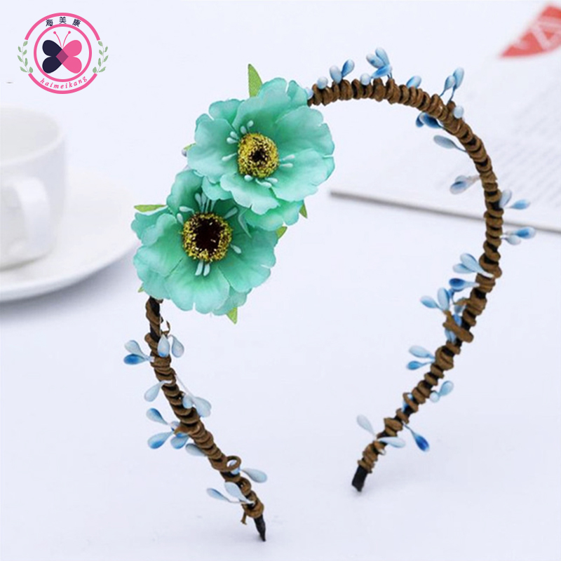 haimeikang adornos para el pelo nia vinchas cm corona grande de la flor verde del