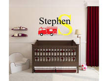 Fire Truck Vinyl Wall Stickers Boys Personalized Name Monogram Wall Decal Home Design Wallpaper Hot Sale Poster Mural SA592