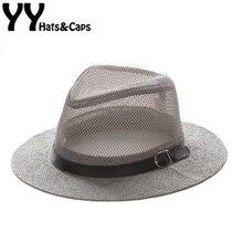 Malla casquillo del jazz hombre paja sombrero Panamá verano playa Sol visor  Cap ala ancha masculina 9cba3532b93
