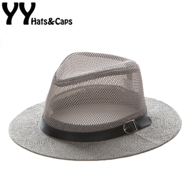 e391f22d65e Mesh Jazz Cap Man Straw Panama Hat Summer Beach Sun Visor Cap wide Brim  Male Sunhat