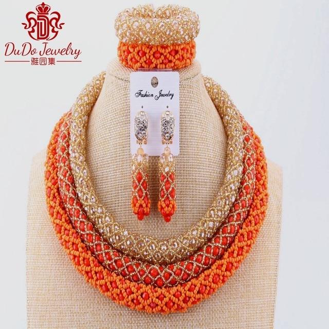 Christmas Costume African Set Of Beads Nigerian Orange Wedding Dubai Jewelry Set For Bride Party Ladies Big Design Necklace Sets