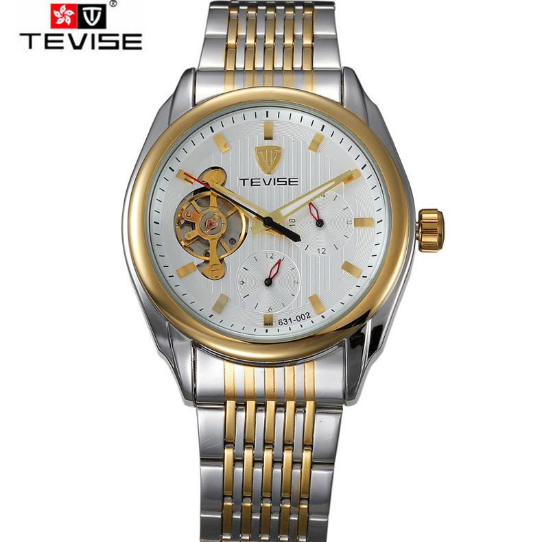 ФОТО Luxury Stainless Steel Men Wrist Watch Flywheel Auto Mechanical Man Mens Wrist Watches Free Ship