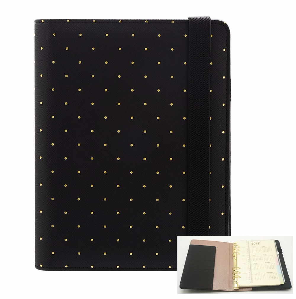 A5 A6 Polka Dot Filofax Organizer Planner Bandage Loose Leaf Spiral Planner Agenda notepad Gorgeous Harphia Faux Leather a5 a6 vintage loose leaf refillable wool felt spiral weekly planner notebook filofax memo travel journal diary notepad