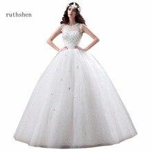 ruthshen Beading Ball Gown Wedding Dresses Vestido De Noiva Low Lace Up Back Appliques Flowers Sleeveless Bridal Gowns Korea