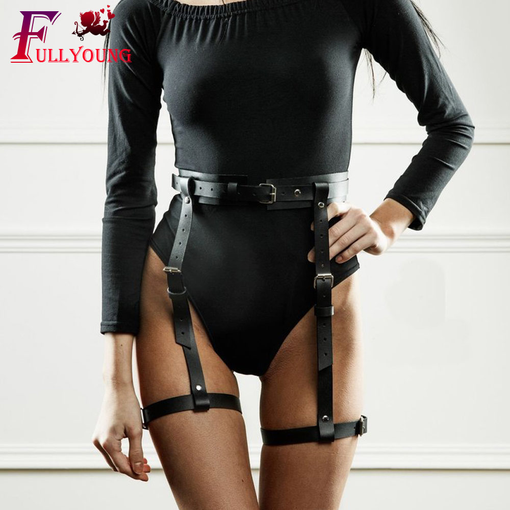 Fullyoung Garter Belt Leather Harness  Sexy Women's Belt For Stocking Female EroticLeg Cage Body Bondage Leg Cage Bow Garter