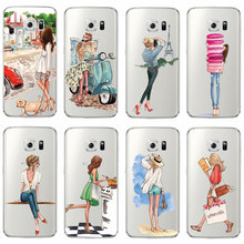 Women's Transparent Plastic Phone Case with Ladies Themed Pattern for Samsung