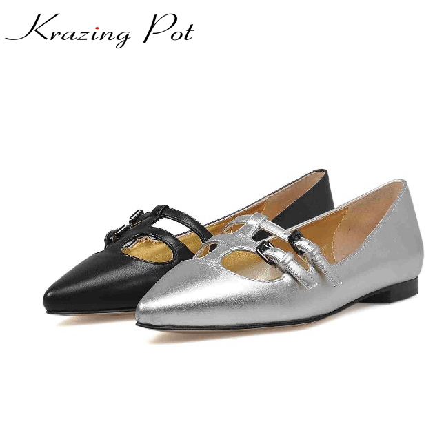 2017 new pointed toe shallow full grain leather big size slip on superstar sweet flats metal women casual cozy summer shoes L1f3 2017 summer new fashion sexy lace ladies flats shoes womens pointed toe shallow flats shoes black slip on casual loafers t033109