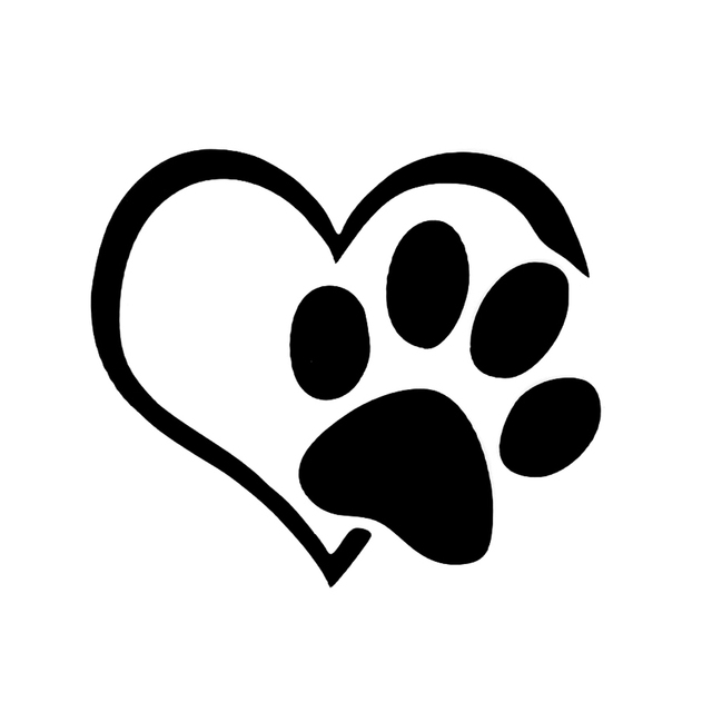 Lovely Heart Shaped Dog Cat Paw Print Car Sticker For Camper Van