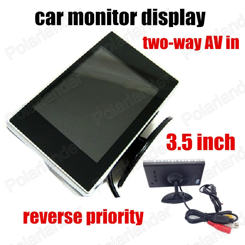 Wholesale Lowest Price 3.5 inch color LCD backup Rearview camera Car Monitor two channels AV Input reverse priority
