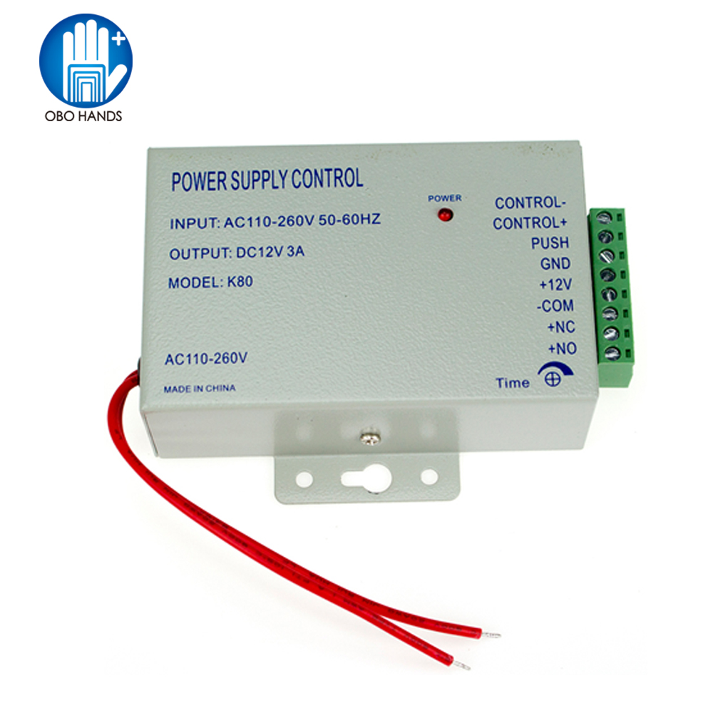 Metal Access Control Power Supply DC12V/3A Output 110-260VAC Input Voltage With Time Delay For All Kinds Electronic Lock K80