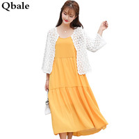 Qbale Women Autumn Dress Two Piece Set 2017 Autumn Korean Fashion Elegant Ladies Plus Size Two