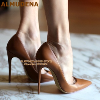 ALMUDENA Top Brand Matte Leather High Heel Shoes Nude Brown Wine Red Shallow Pumps Celebrity Popular 12cm Stiletto Heels Shoes