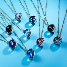 Rinhoo Charming Universe Space Necklace Galaxy System Planet Pendant Necklace Double Sided Glass Dome Ball Women Jewelry Gifts 2019 new dream nice nebula necklace various galaxy space pattern glass alloy necklace pendant solar system popular jewelry