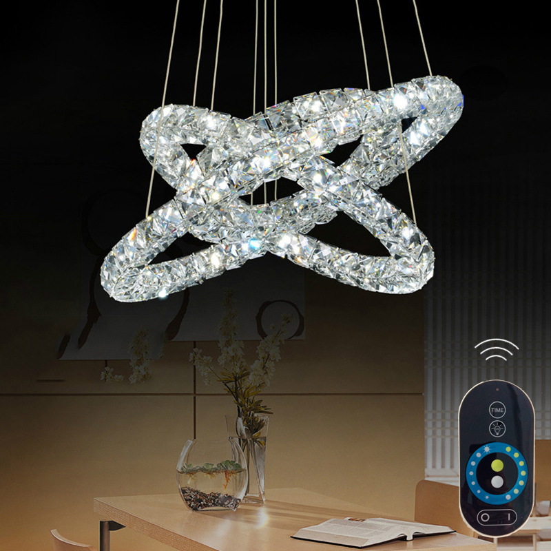 Round Ring Crystal Pendant Light Indoor Lamps Fixtures for Indoor Home Deco with Remote Dimmable CE FCC ROHS VALLKIN LIGHTING  vallkin round led crystal pendant light hanging lamp fixtures for bar cafe ac110 240v k9 crystal lamp ce fcc rohs d40cm d60cm
