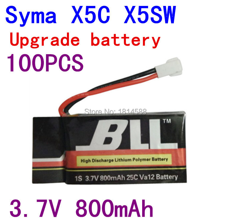100PCS Fast Charging 800mAh Battery For Syma X5 X5C X5SC X5SW V931 H5C CX-30 CX-30W Quadcopter Spare Parts With 3.7V X5C Battery syma x5 x5c x5c 1 explorers new version without camera transmitter bnf