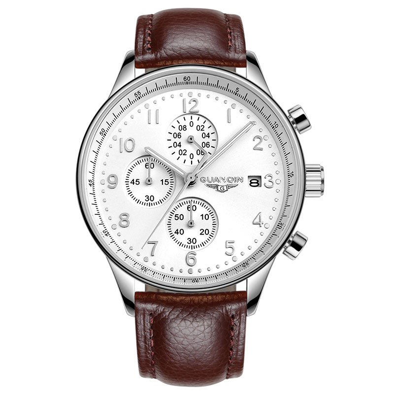 GUANQIN GQ20141 Genuine multifunction Chronograph watch quartz watches men Three small dials business white Leather strap