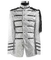 Nach maß Neue Ankunft Silber Pailletten gericht Jacke leistung Partei BLAZER Bräutigam Smoking Best Man Männer Hochzeit Anzüge