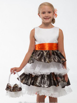 free shipping  knee length camo flower girl dress 2019 pageant dresses for little girls  camouflage gowns custom make