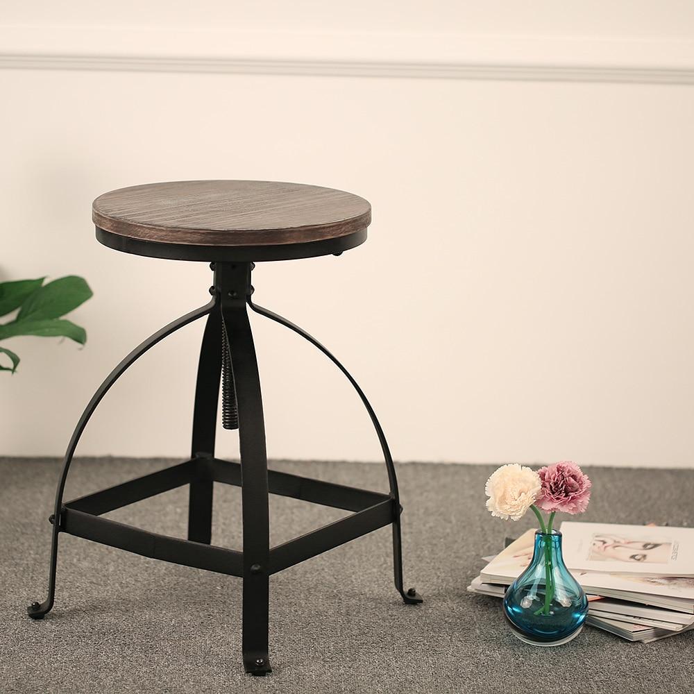 ikayaa retro style adjustable height bar stool swivel kitchen dining stool natural pinewood top barstool us